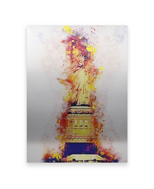 """Trademark Global Philippe Hugonnard NYC Watercolor Collection - Lady Liberty Floating Brushed Aluminum Art - 21"""" x 25"""""""