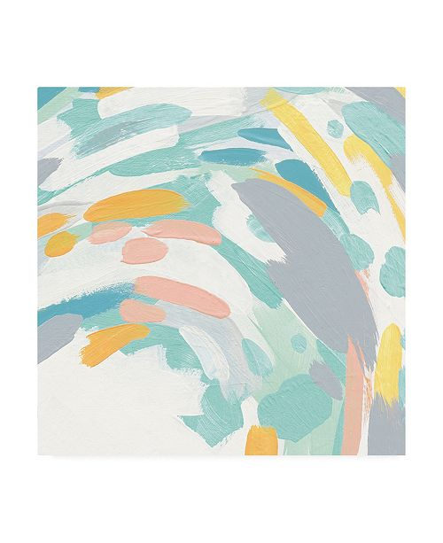 """Trademark Global Moira Hershey Laughter II Turquoise and Peach Canvas Art - 36.5"""" x 48"""""""