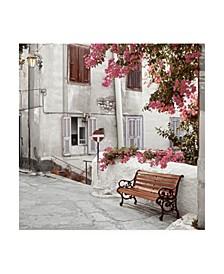 """Alan Blaustein Mediterranean Bench Canvas Art - 15.5"""" x 21"""""""