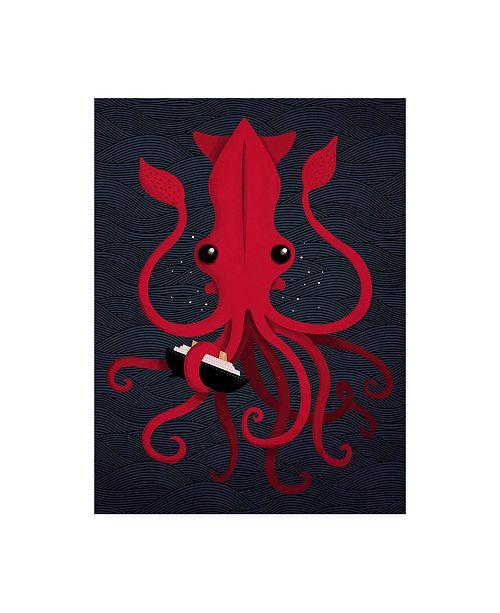 """Trademark Global Michael Buxto Kraken Attaken Canvas Art - 19.5"""" x 26"""""""