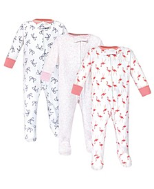 Zipper Sleep N Play, Flamingo, 3 Pack, 0-3 Months