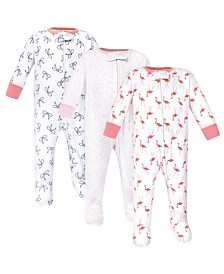 Yoga Sprout Zipper Sleep N Play, Flamingo, 3 Pack, 0-3 Months
