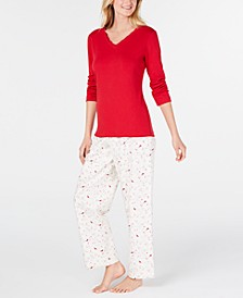 Women's Petite Lace-Trim Top & Flannel Pajama Pants Set, Created for Macy's