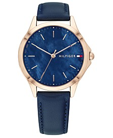 Women's Blue Leather Strap Watch 34mm, Created for Macy's