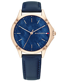 Tommy Hilfiger Women's Blue Leather Strap Watch 34mm, Created for Macy's