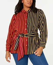 Tommy Hilfiger Plus Size Mixed-Stripe Tie-Front Shirt