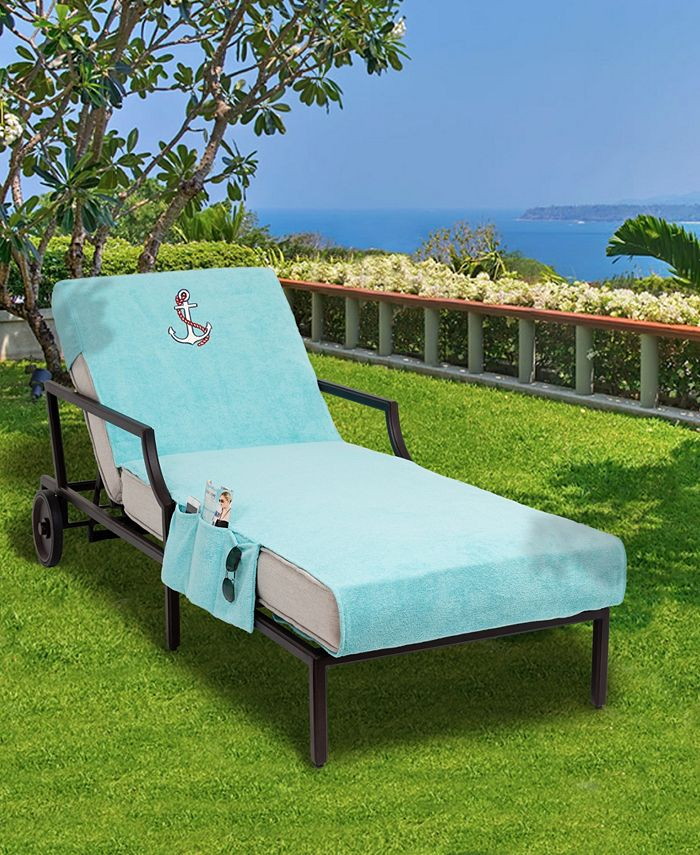 Linum Home - Standard Size Chaise Lounge Cover with Side Pockets Embroidered with Anchor