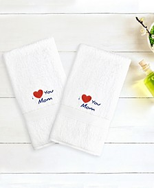 "Terry 2-Pack of Hand Towels Embroidered with ""I Love You Mom"""