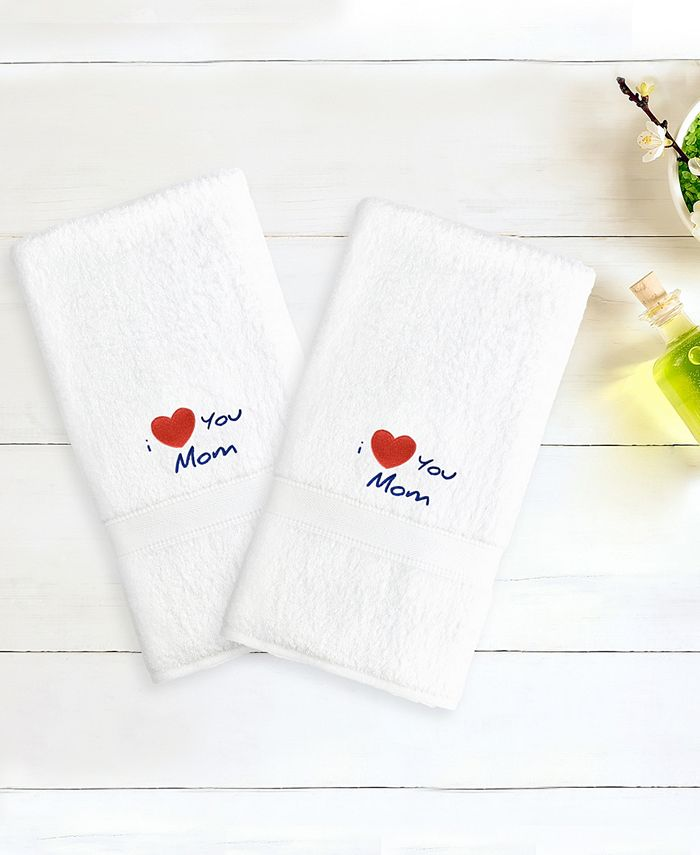 """Linum Home - Terry 2-Pack of Hand Towels Embroidered with """"I Love You Mom"""""""