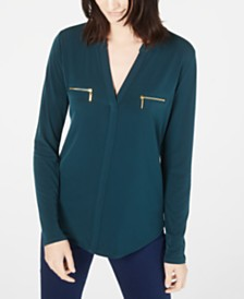 I.N.C. Zip-Pocket Blouse, Created for Macy's