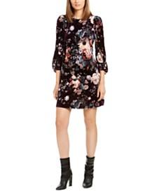 Calvin Klein Printed-Velvet Puff-Sleeve Dress