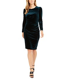 Ruched Velvet Sheath Dress