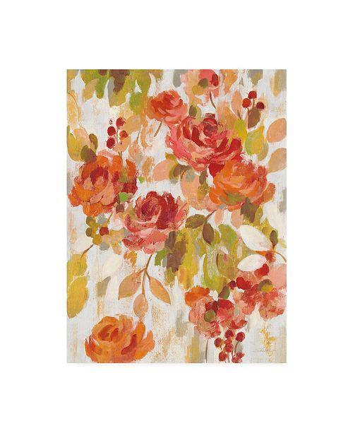 "Trademark Global Silvia Vassileva Red and Orange Brocade II Canvas Art - 37"" x 49"""