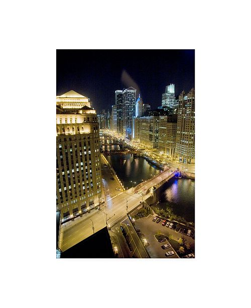 "Trademark Global Monte Nagler Chicago at Night Chicago Color Canvas Art - 15"" x 20"""