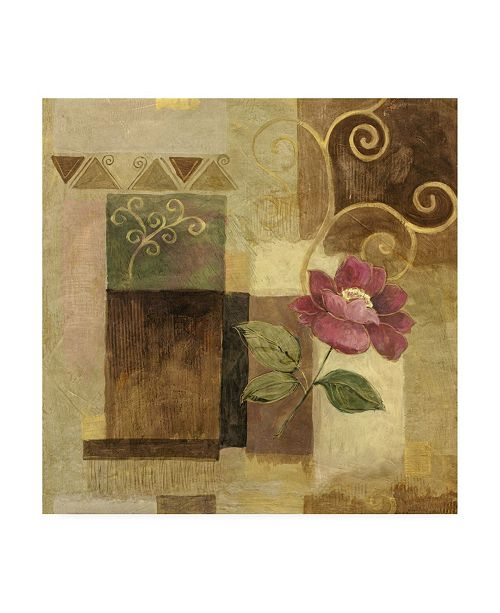 "Trademark Global Pablo Esteban Pink Flower on Brown Canvas Art - 36.5"" x 48"""