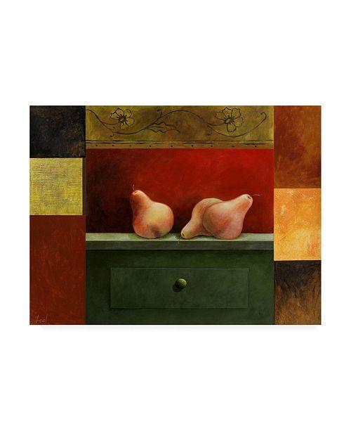 "Trademark Global Pablo Esteban Pears Green Shelf Canvas Art - 19.5"" x 26"""