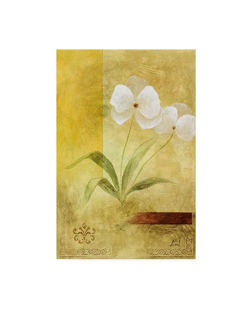 "Trademark Global Pablo Esteban White Floral Yellow 2 Canvas Art - 27"" x 33.5"""