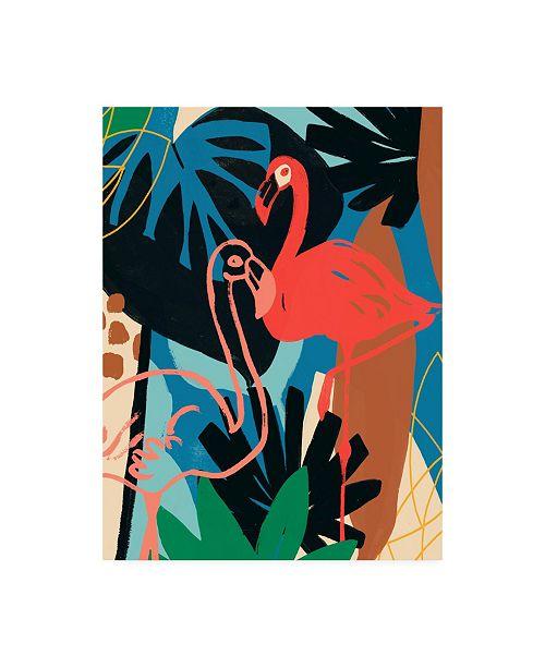 "Trademark Global June Erica Vess Funky Flamingo II Canvas Art - 36.5"" x 48"""