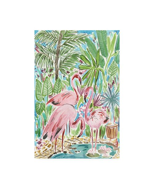 "Trademark Global Melissa Wang Flamingo Paradise II Canvas Art - 19.5"" x 26"""