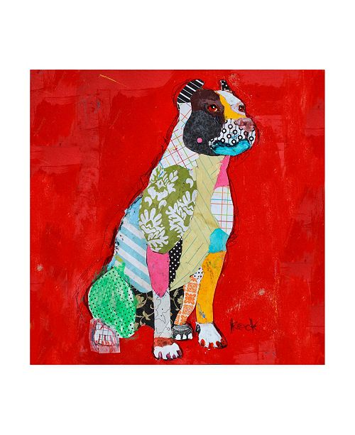 "Trademark Global Michel Keck Red Pit Bull Canvas Art - 15.5"" x 21"""