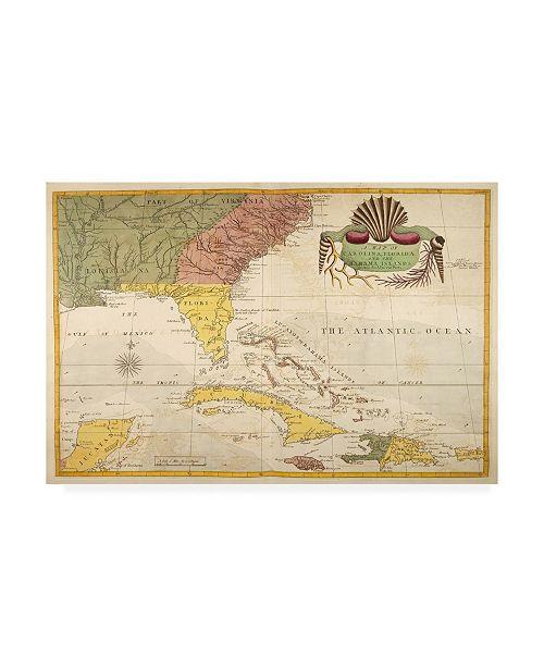 "Trademark Global Mark Catesby Map of Carolina, Florida and the Bahama Islands Canvas Art - 36.5"" x 48"""
