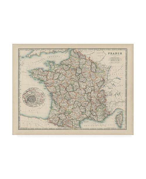 "Trademark Global Johnston Johnstons Map of France Canvas Art - 19.5"" x 26"""