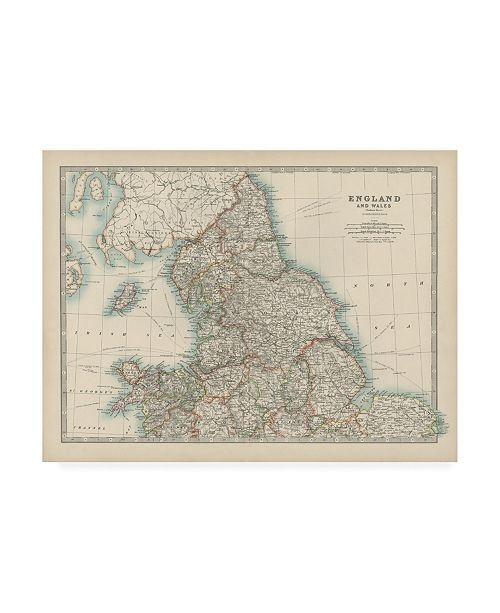 "Trademark Global Johnston Johnstons Map of England and Wales Canvas Art - 36.5"" x 48"""