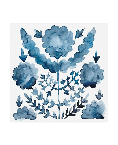 "Trademark Global Chariklia Zarris Indigo Ornament I Canvas Art - 36.5"" x 48"""