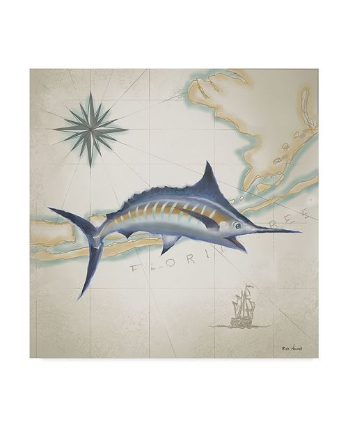 "Trademark Global Rick Novak Sailfish Map I Canvas Art - 20"" x 25"""