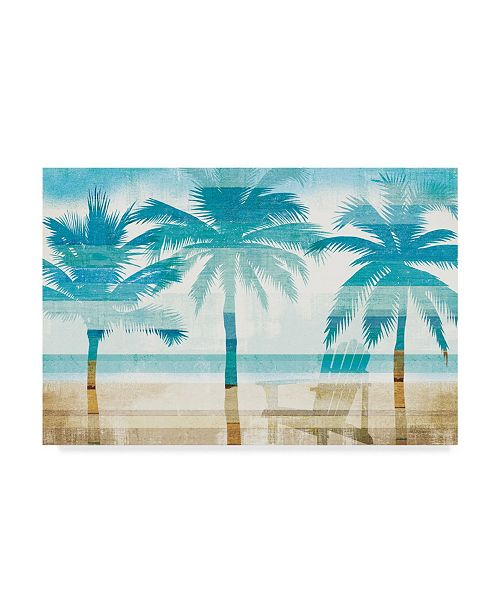 "Trademark Global Michael Mullan Beachscape Palms with Chair Canvas Art - 20"" x 25"""