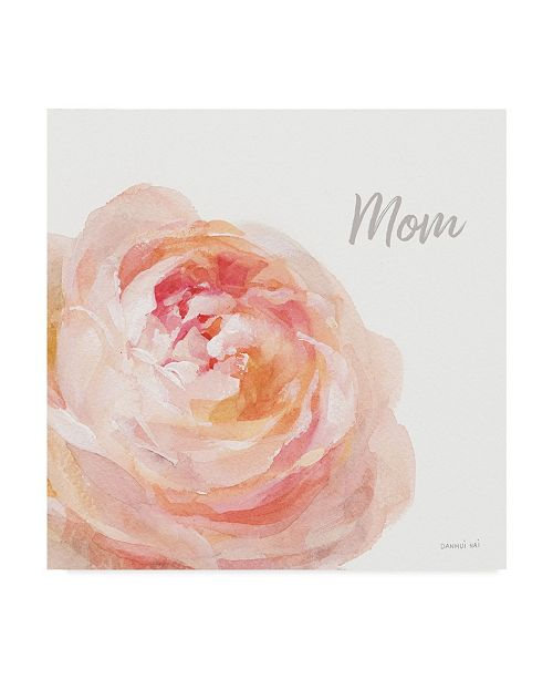 "Trademark Global Danhui Nai Garden Rose on White Crop Ii Mom Canvas Art - 15"" x 20"""