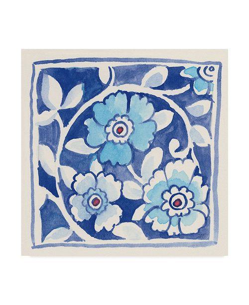 """Trademark Global Miranda Thomas Peacock Garden Blue IX Canvas Art - 15"""" x 20"""""""