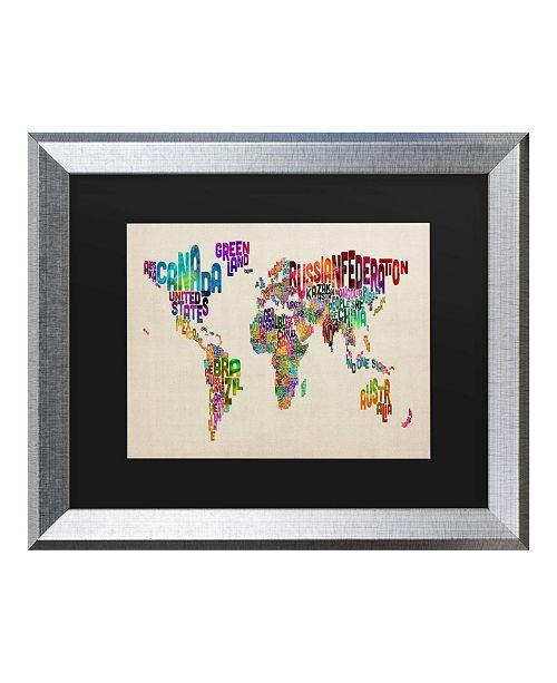 "Trademark Global Michael Tompsett Typography World Map II Matted Framed Art - 20"" x 25"""