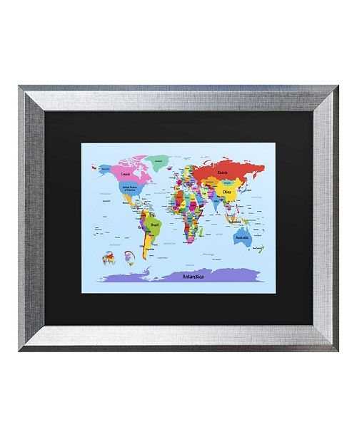 "Trademark Global Michael Tompsett Childrens World Map Matted Framed Art - 20"" x 25"""