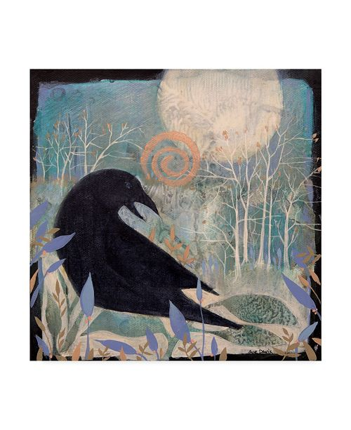 "Trademark Global Sue Davis Crow and Moon Canvas Art - 15"" x 20"""