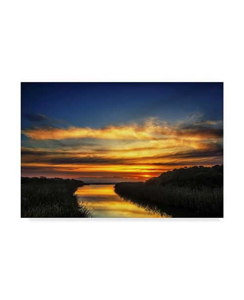 "Trademark Global Pixie Pics River Sunset Canvas Art - 37"" x 49"""