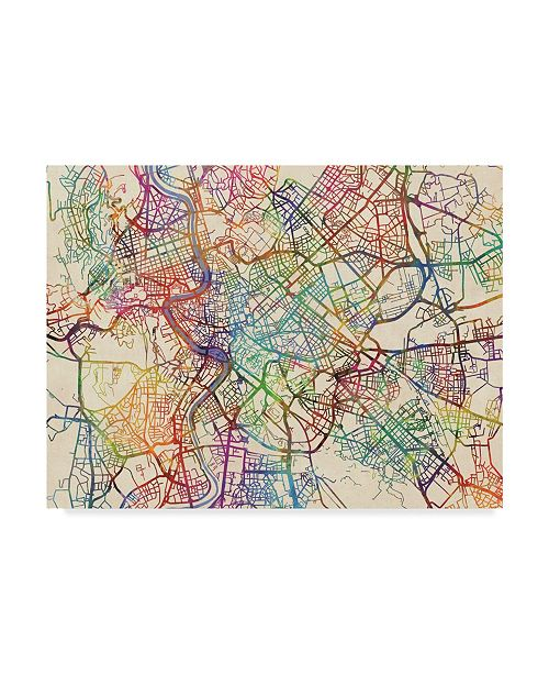 "Trademark Global Michael Tompsett Rome Italy Street Map III Canvas Art - 37"" x 49"""
