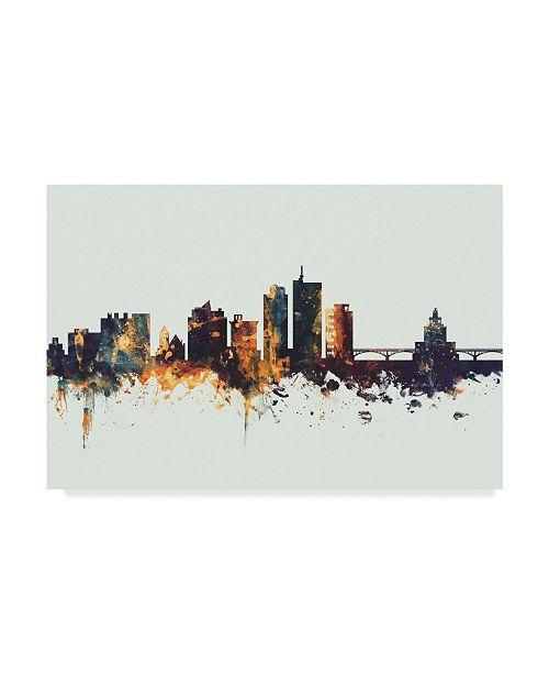"Trademark Global Michael Tompsett Cedar Rapids Iowa Skyline IV Canvas Art - 20"" x 25"""
