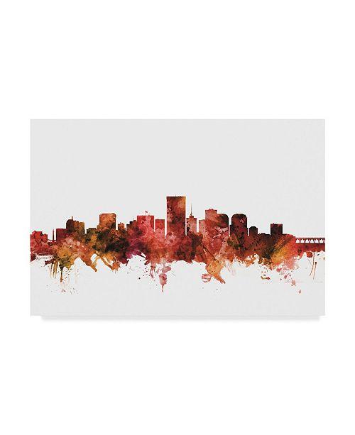 "Trademark Global Michael Tompsett Richmond Virginia Skyline Red Canvas Art - 20"" x 25"""