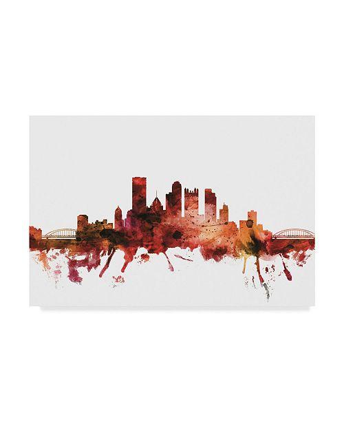 "Trademark Global Michael Tompsett Pittsburgh Pennsylvania Skyline Red Canvas Art - 37"" x 49"""