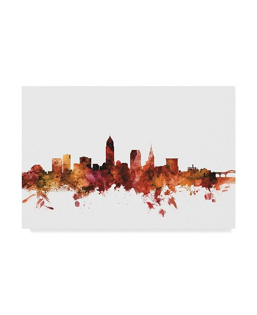"Trademark Global Michael Tompsett Cleveland Ohio Skyline Red Canvas Art - 20"" x 25"""