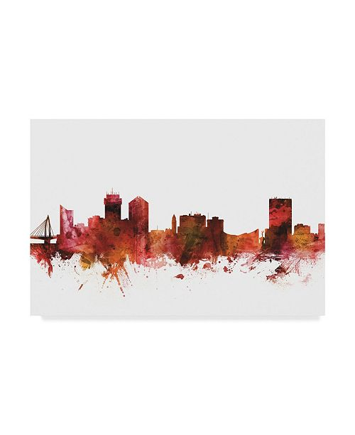 "Trademark Global Michael Tompsett Wichita Kansas Skyline Red Canvas Art - 37"" x 49"""