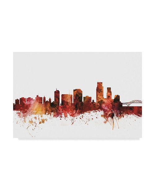 "Trademark Global Michael Tompsett Corpus Christie Texas Skyline Red Canvas Art - 20"" x 25"""