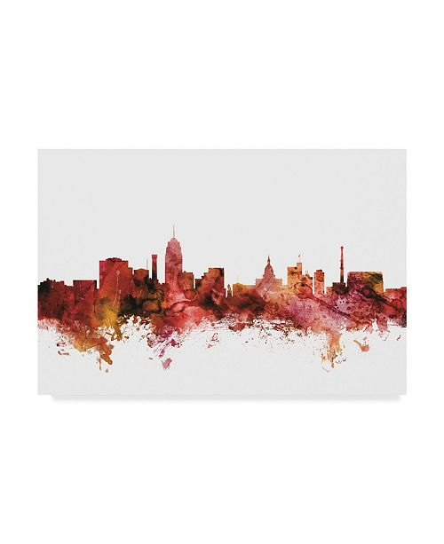 "Trademark Global Michael Tompsett Lansing Michigan Skyline Red Canvas Art - 37"" x 49"""