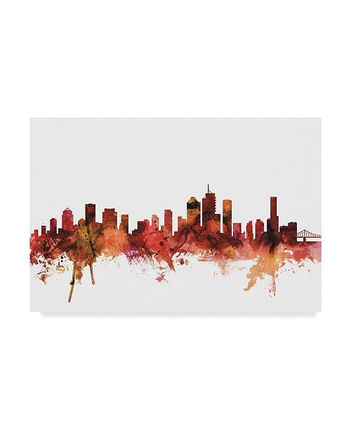 "Trademark Global Michael Tompsett Brisbane Australia Skyline Red Canvas Art - 37"" x 49"""