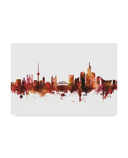 """Trademark Global Michael Tompsett Vilnius Lithuania Skyline Red Canvas Art - 20"""" x 25"""""""
