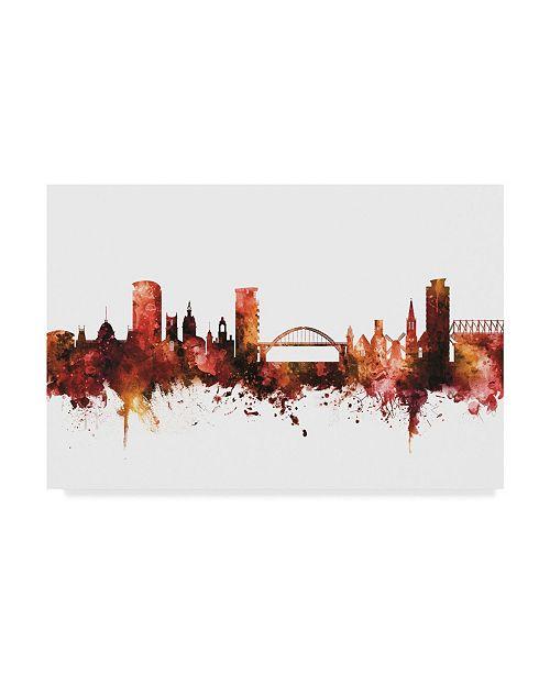 "Trademark Global Michael Tompsett Sunderland England Skyline Red Canvas Art - 37"" x 49"""