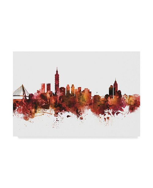 "Trademark Global Michael Tompsett Taipei Taiwan Skyline Red Canvas Art - 20"" x 25"""