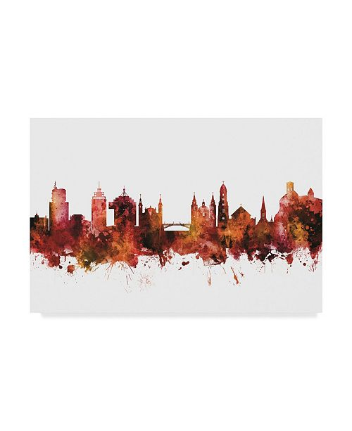 "Trademark Global Michael Tompsett Ljubljana Slovenia Skyline Red Canvas Art - 37"" x 49"""