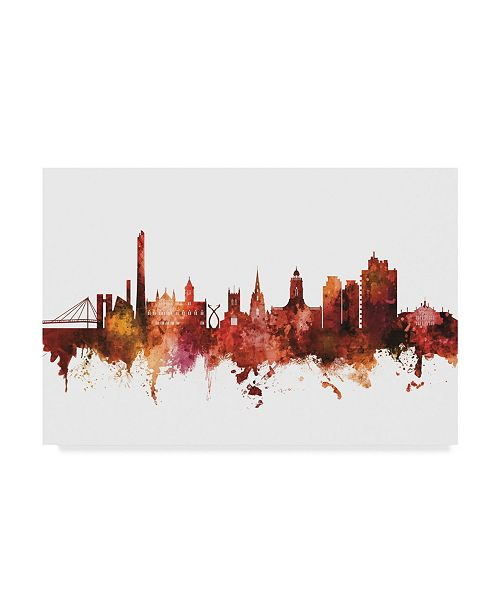 "Trademark Global Michael Tompsett Northampton England Skyline Red Canvas Art - 37"" x 49"""